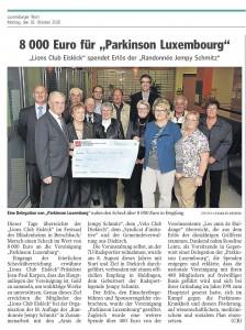 """8000 Euro für """"Parkinson Luxembourg"""""""